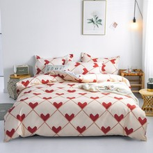 Red Hearts Duvet Cover Set Love Heart Bedding with Pillowcases Single Twin Queen King Size Bed linen 3pcs(China)