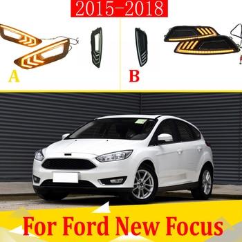 2pcs For Ford Focus 2015-2018 LED Daytime Driving Running Light DRL Car Fog Lamp 6000K White Turn Yellow Turn Blue Light