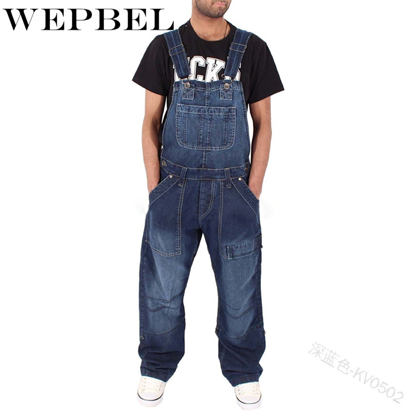 WEPBEL Men Denim Pants Overalls Fashion Zipper Long Pocket Loose Casual Button Men's Long Pants Trousers
