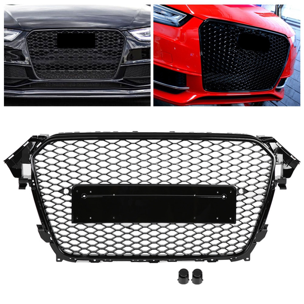 Mesh Grille RS4 Style Front Grill w// Quattro For Audi B8.5 A4 S4 2013 2014 2015