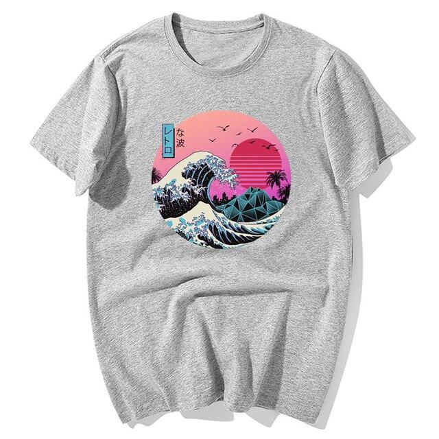 The Great Retro Wave Japanese Anime T-shirt Harajuku Streetwear Cotton Camisetas Hombre Men Vaporwave Funny Cool Hip Hop T Shirt