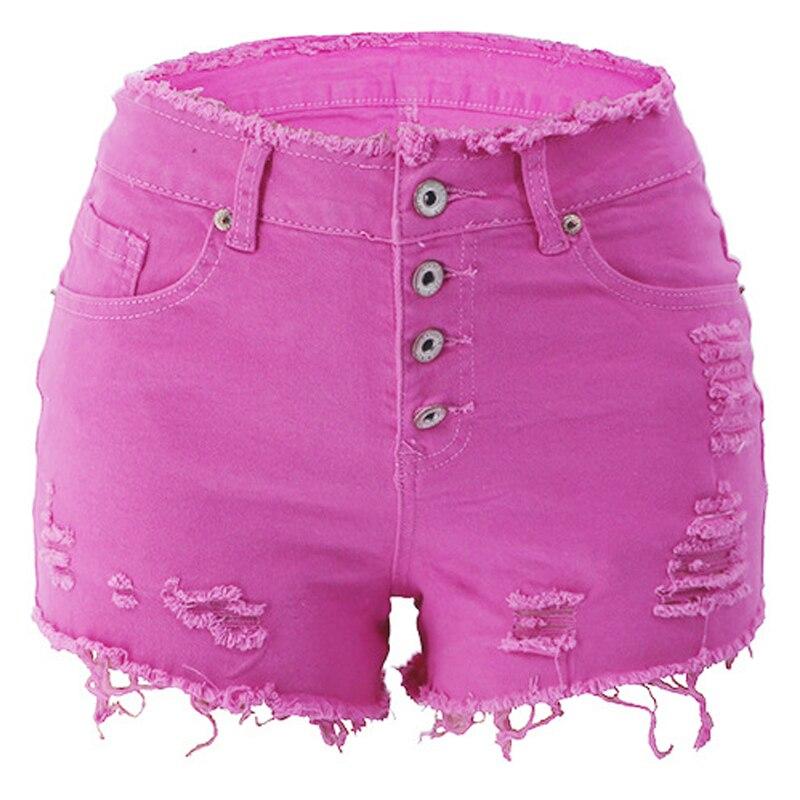 Weigou Summer Women Casual Hole Denim Shorts High Waist  Solid Jeans Shorts Vintage Cotton Short Pants