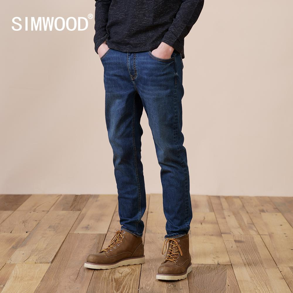 SIMWOOD 2021 Зимние новые флисовые джинсы с подкладкой, мужские зауженные джинсовые брюки размера плюс, Высококачественная брендовая одежда ...