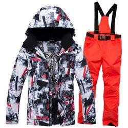 Новый Зимний лыжный костюм для мужчин, теплые ветрозащитные водонепроницаемые уличные спортивные зимние куртки и брюки, Мужская лыжная Эки...