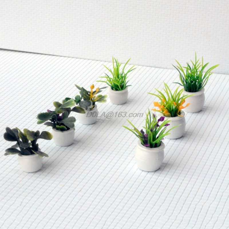 7Pcs//Set 1:12 miniature resin landscape flower pot dollhouse garden for kids OVO