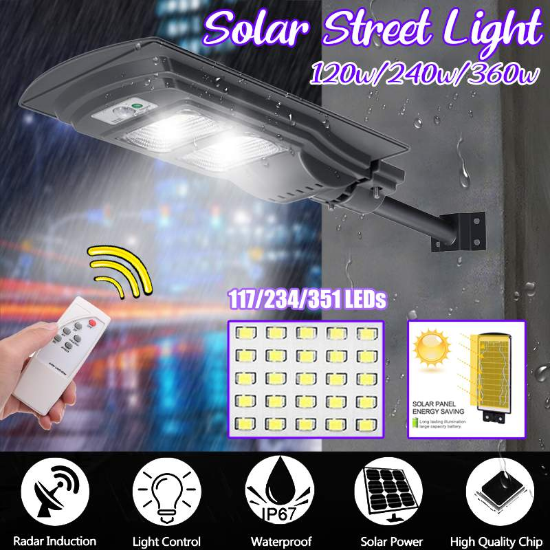 360W/240W/120W LED Radar Motion Black IP65 Solar Street Light Constantly Waterproof Induction Solar Sensor Remote Control