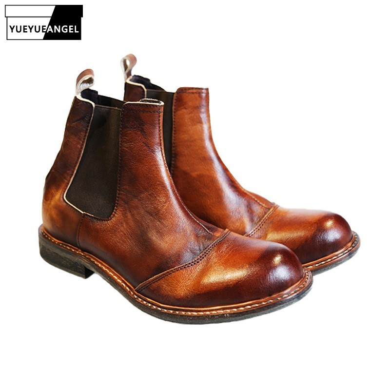 2020 Vintage Real Leather Classic Chelsea Boots Men Handmade Slip On Ankle Boots Autumn Round Toe High Top Safety Shoes Couple