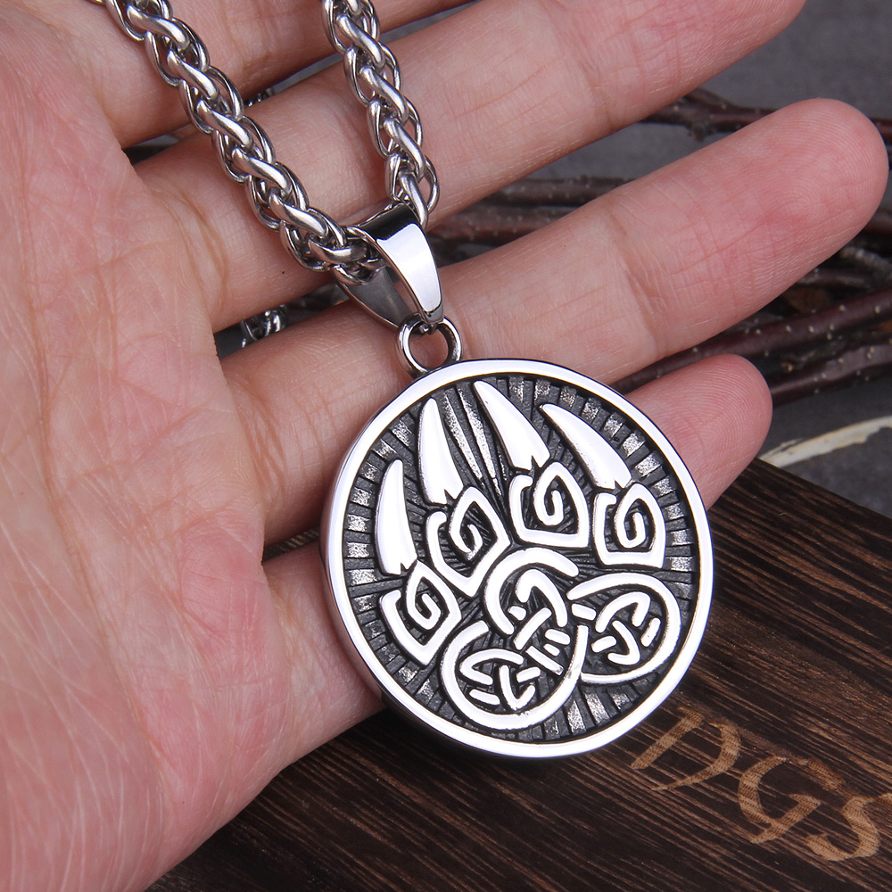 316L stainless steel Classic Animal Bear Claw Men/'s Pendant Necklace Viking Bear Amulet Fashion Jewelry