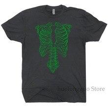 Camiseta esqueleto verde Camiseta ceñida Tap camisa gráfica de Rock Vintage camiseta Punk Retro película de secta Donnie Rib Cage Darko hombre mujer