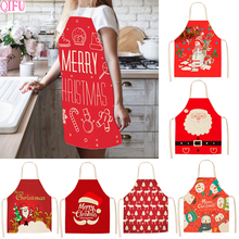 QIFU Cotton Christmas Apron For Woman Merry Kitchen Decorations Home 2019 Navidad Noel Happy New Year Gifts