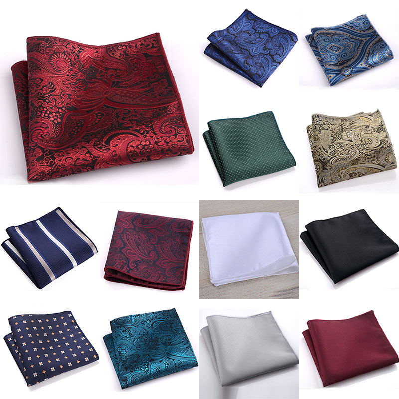 1PC Vintage Men British Design Floral Print Pocket Square Handkerchief Chest Towel Suit Accessories