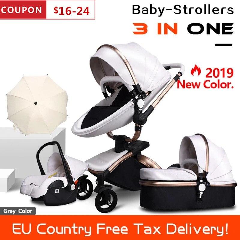 Livre o navio couro 3 em 1 carrinho de bebê em dois sentidos suspensão 2 em 1 carrinho de bebê segurança da ue assento de carro recém-nascido enviar guarda-chuva