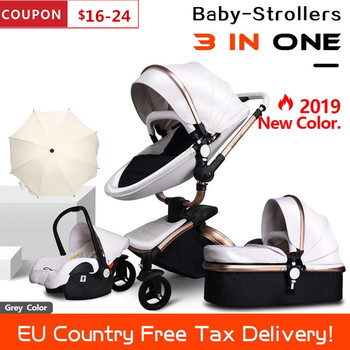 Free Ship Leather 3 in 1 Baby Stroller Two Way Suspension 2 in 1 Stroller EU Safety Car Seat Newborn Bassinet Send Umbrella image