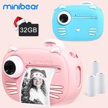 Minibear Children Camera For Kids Instant Camera 1080P Digital Camera For Children Photo Camera Toys For Girl Boy Birthday Gifts