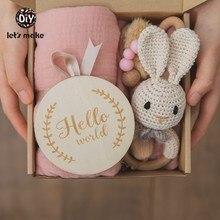 Vamos a hacer 1set bebé Toalla de baño de algodón cepillo para manta productos de regalo para los niños juguete traqueteo de ganchillo caja de regalo de la Navidad Presente