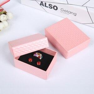 Image 3 - 24Pcs 7x9cm תכשיטי אריזת מתנה יהלומי דפוס נייר תכשיטי אריזה עבור שרשרת טבעת עגילי תצוגת תיבה עם שחור ספוג