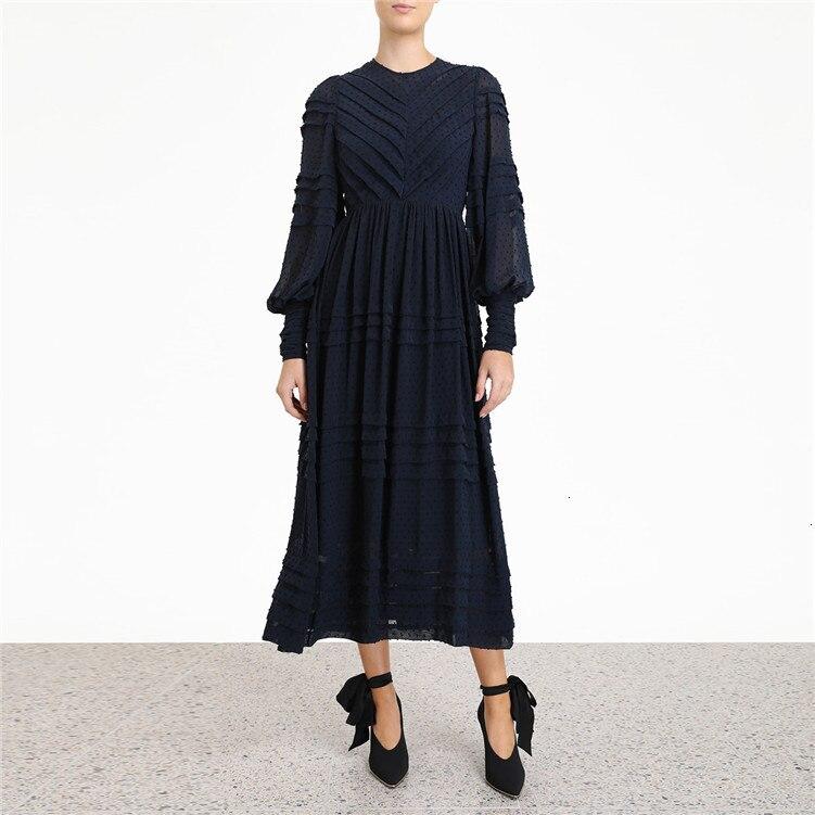 2019 herfst retro platter jurk hoge taille seaside vakantie jurk print jurk lange vrouwelijke zomer - 3