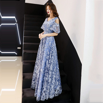 Skyyue Flower Pattern Women Party Dresses R283 Short Sleeve Elegant Vestidos A-Line Pleat Evening Dress V-Neck Formal Gowns