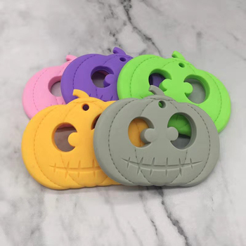 Pumpkin Shaped Silicone Teether Baby Teething Toys Baby Shower Gift Food Grade Cartoon Teether Beads Halloween Gift personalized name baby teether silicone pacifier clips holder infant teething toys baby shower gift food grade silicone