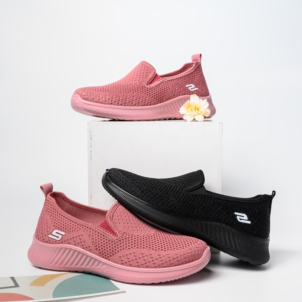 2020 summer women's sneakers slip on soft women's shoes flat casual sock shoes Ladies  Mesh lofaers fashion Vulcanize Shoes 5