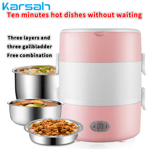 2L Electric Mini Rice Cooker Multi-functional Portable Stainless Steel 2/3 Layers Steamer Meal Thermal Heating Cookers Lunch Box