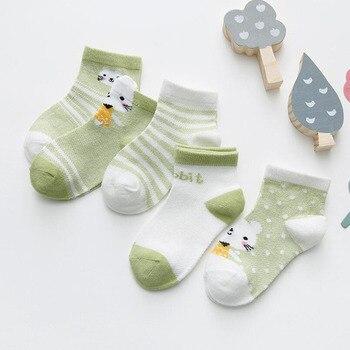 0-3Y 5 Pairs/lot Infant Baby Socks Cute Summer Breathable Mesh Sock Cotton Newborn Boys Girls Short Socks - J, 6M