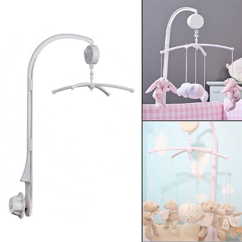 DIY Baby Crib White Rattles Bracket Set Baby Crib Mobile Bed Bell Holder Toy Infant Arm Bracket Wind-up Music Box Hanging Stand