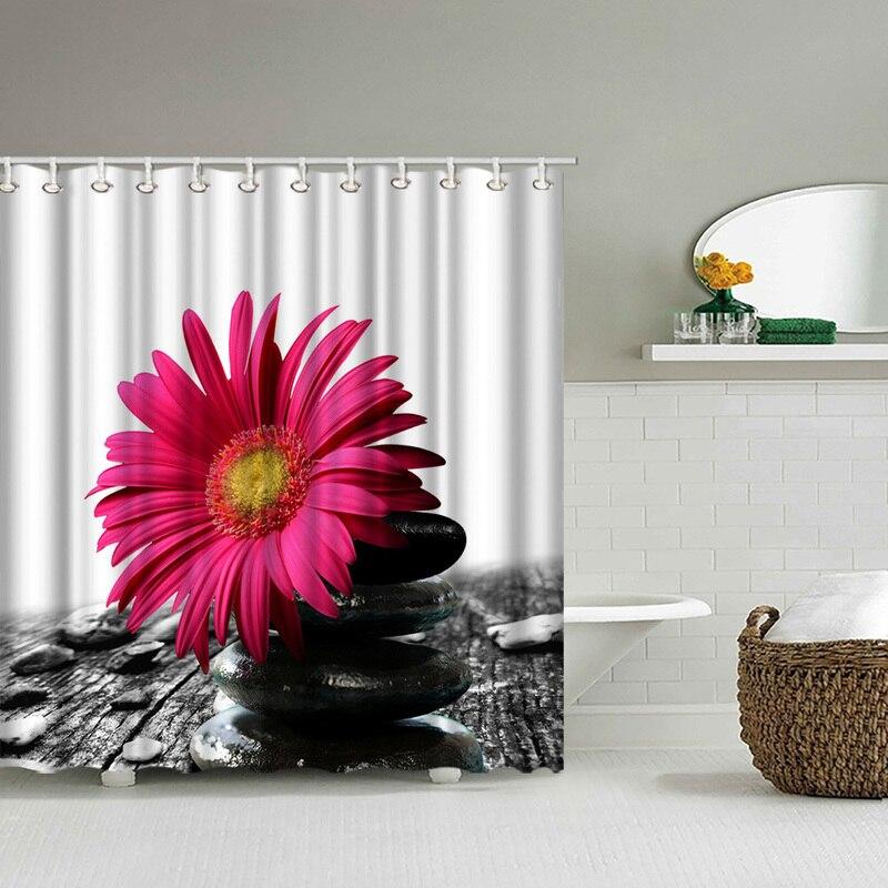 Фото на заказ ванная комната занавеска для душа красная Хризантема