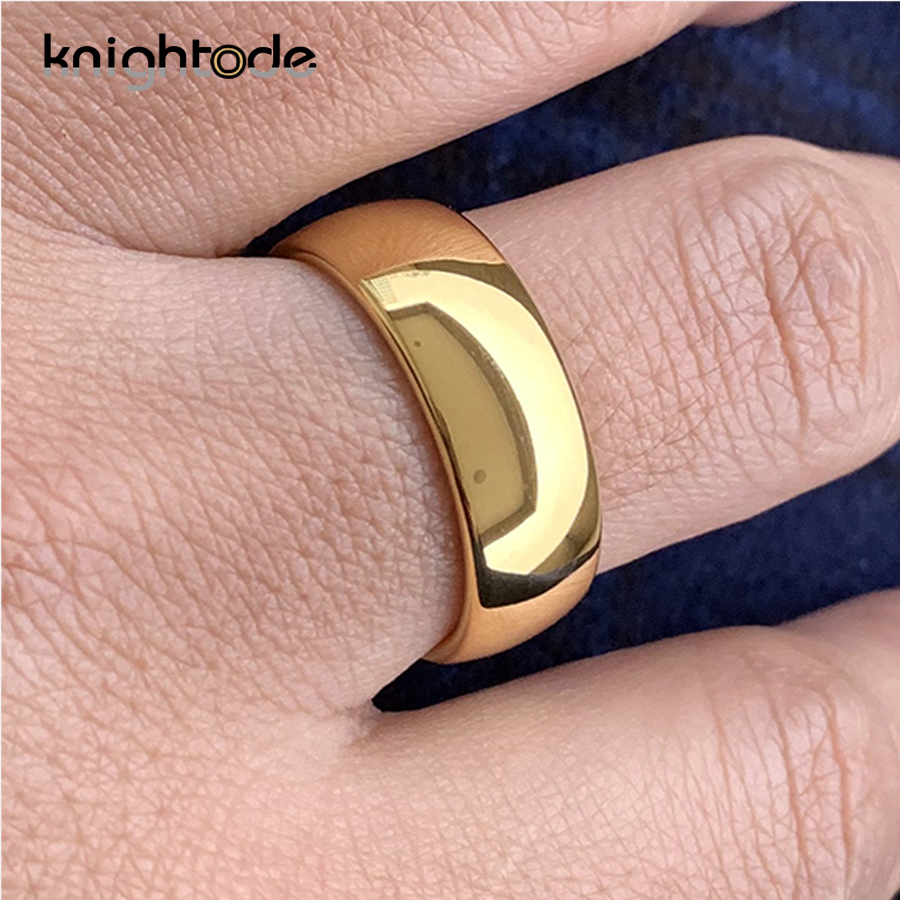 Classic Gold Color Wedding Ring Tungsten Carbide Rings Women Men Engagement Ring Gift Jewelry Dome Polished Band Free Engraving 3