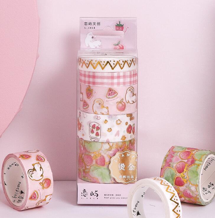 MINKYS Kawaii 5pcs/set Strawberry Floral Washi Tape Decorative Masking Tape For DIY Crafts Kids' Art