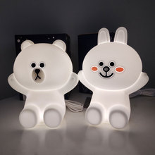 Line Friends Kids Night Lights Bear Brown Bunny Cony Rabbit Lamp for Childrens Gifts Bedroom LED USB Touch Silicone Lamps