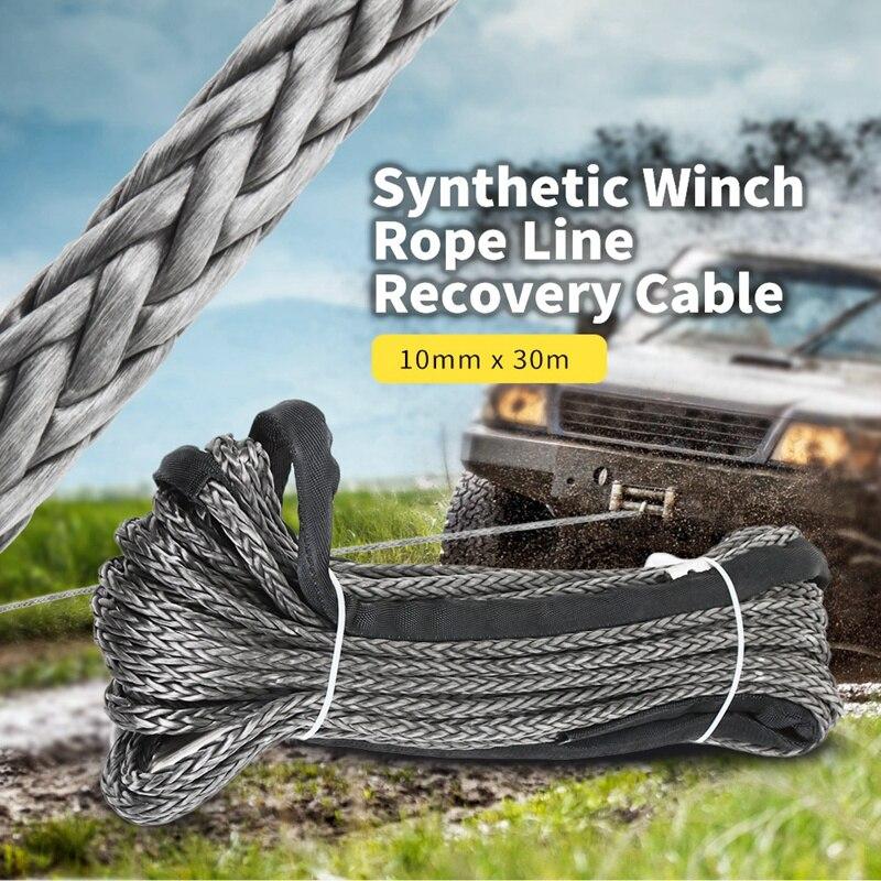 30 м синтетический трос лебедки 10 мм Кабель восстановления автомобиля буксировочный трос для автомобиля Atv Utv внедорожный - 3