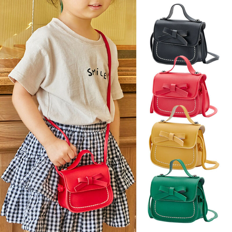 1PC Kids Girls Bowknot Shoulder Bag Crossbody Sling PU Leather Wallet Handbags Ladies Shouler Bag Lovely Bow Design
