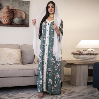 Siskakia Ethnic V Neck Ribbon Maxi Dress Fall 2020 Loose Muslim Jalabiya Abaya Dresses Full