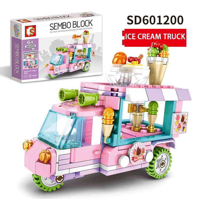 Sembo Food Selling Car Bricks Sets Block Mini Street View IceCream Sale Dining Serving Car MOC Building Block For Children Gift