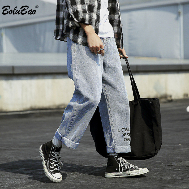 BOLUBAO Trend Brand Men Fashion Jeans New Men's Wash Straight Wide Leg Pants Harajuku Style Loose Casual Jeans Male