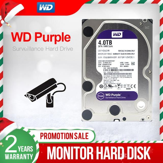 "WD mor 4TB 3.5 ""HDD gözetim sabit Disk sürücüsü 5400RPM sınıfı sata iii 6 gb/sn 64MB önbellek 3.5 inç WD40EJRX"