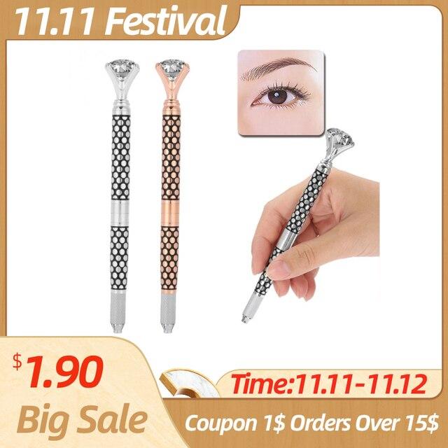 Eyebrow Manual Pen Microblading Tattoo Machine For Permanent Eyebrow Lip Makeup Embroidery Munsu Tebori With Crystal Diamond