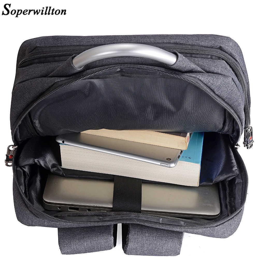 """Soperwillton 2019 กระเป๋าเป้สะพายหลังผู้ชาย USB Charge ด้านบน 15.6 """"กระเป๋าเป้สะพายหลังแล็ปท็อปสีดำวัยรุ่น Oxford ชายหญิงโรงเรียนกระเป๋า"""