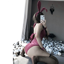 Velvet Sexy Rabbit Girl Jumpsuit Erotic Roleplay Kawaii Lingerie for Couple Cute Anime Bunny Cosplay Costume Halloween Women(China)