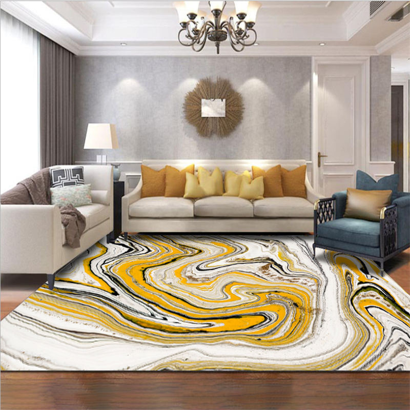 Carpets For Living Room Nordic Abstract Sea Water White Yellow Pattern Carpet Floor Mat Grey Modern Home Decor Bedroom Carpet