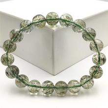 Natural Green Rutilated Tourmilated Quartz Bracelet 11mm Clear Round Beads For Women Men Fashion Best Jewelry AAAAA top quality natural green rutilated tourmilated quartz bracelet 9 5mm clear round beads for women men fashion jewelry aaaaa