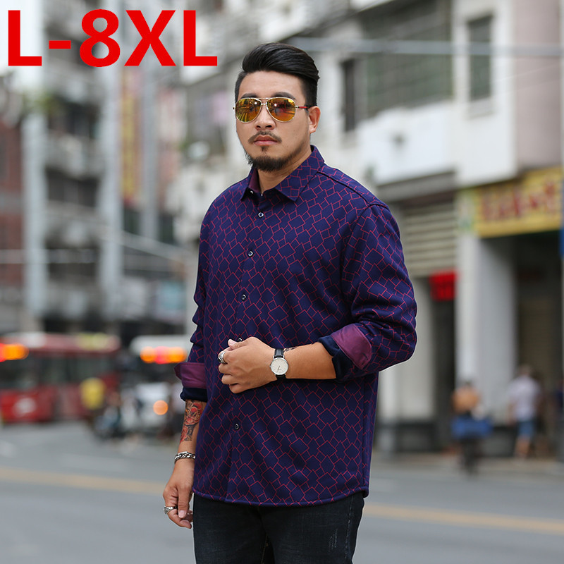 NEW Plus Size 8XL 7XL 6XL Fashion Brand Winter Shirt Men Warm Fleece Lined Velvet Shirts Male Bottoming Shirt Fast Shipping