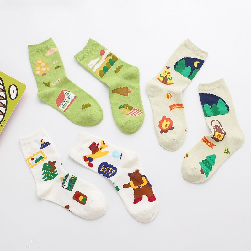 Jeseca Cartoon Print Cute Socks For Women Winter Thick Warm Sock Japanese Kawaii Girls Sweet Harajuku Vintage Streetwear Sock