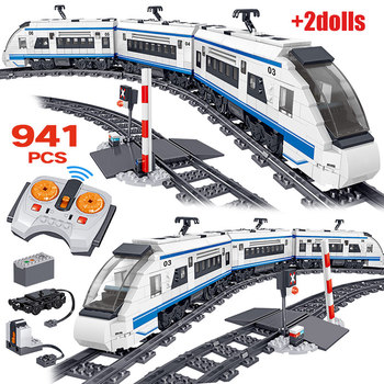 941pcs City Electric High-speed Rail Remote Control Building Blocks Technic RC Train Track Brick Toy for Children Boy