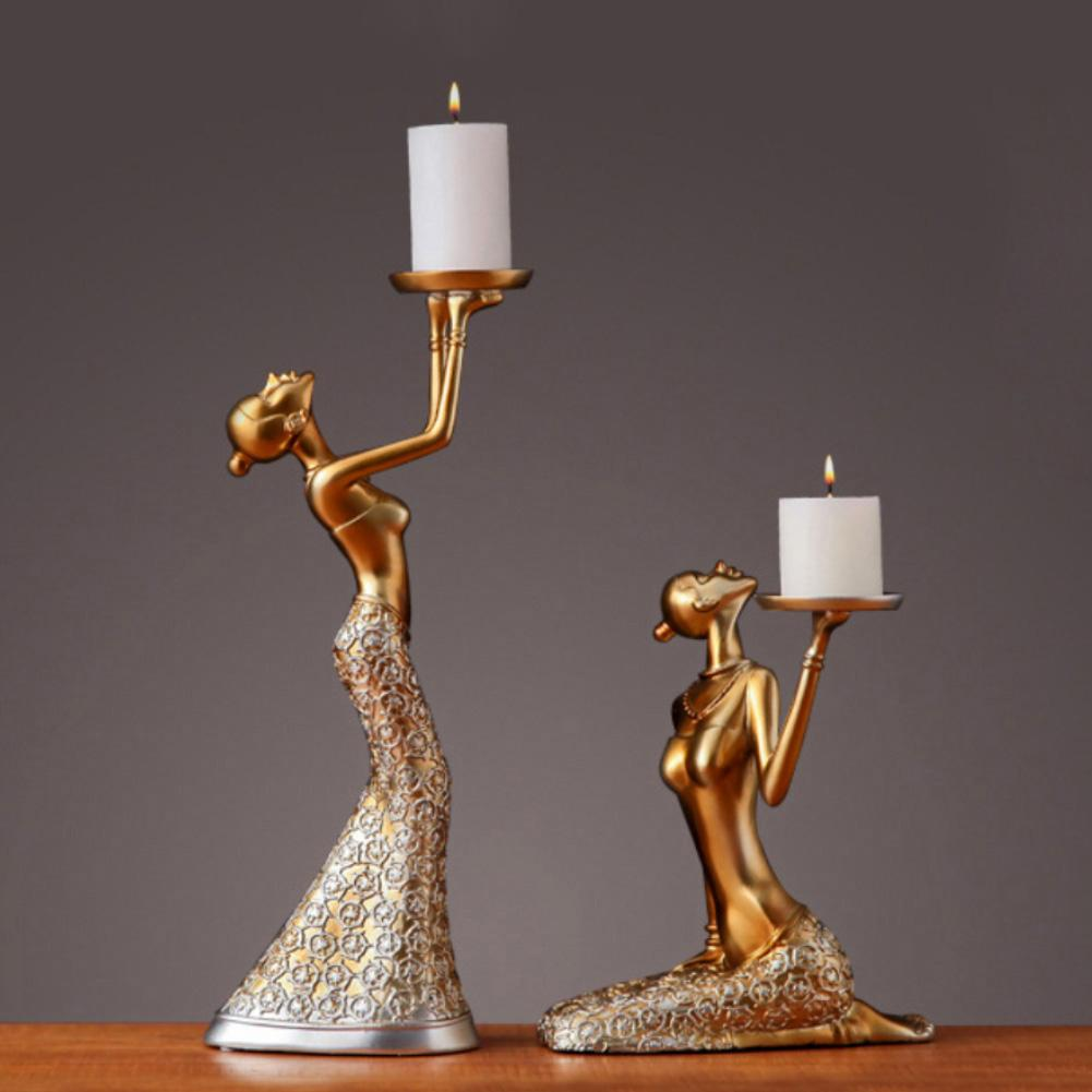 1Pair Resin Vintage Abstract Lady Candle Holder Statue Sculpture Candlestick Weeding Decoration Accessories Party Home Decor|Candle Holders| |  - title=