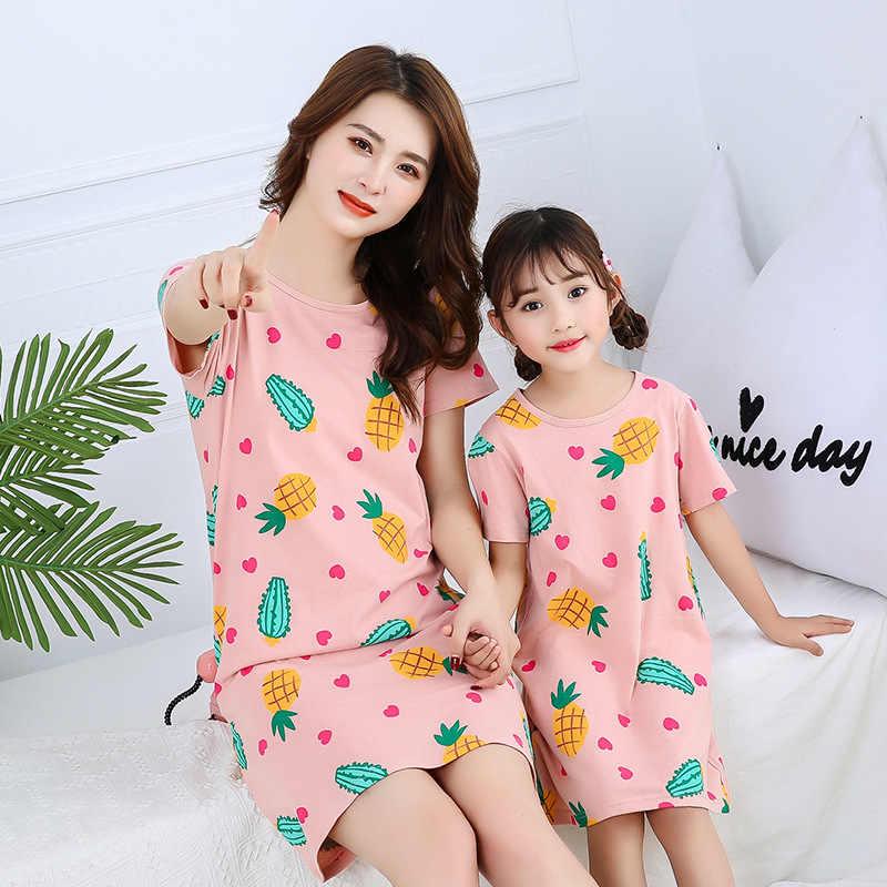 100% Katoen Meisjes Nachtjapon Pyjama Kinderen Zomer Nachthemd Baby Meisjes Thuis Kleding Moeder Kids Night Jurk Meisje Nachtkleding