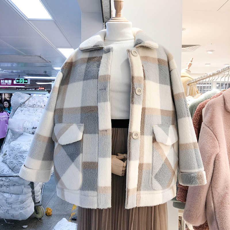 Autumn Women Fleece Jackets Wool Blends Faux Fur Outerwear Female Overcoat Jacket Winter Long Coat Womens Vintage Fashion Suit