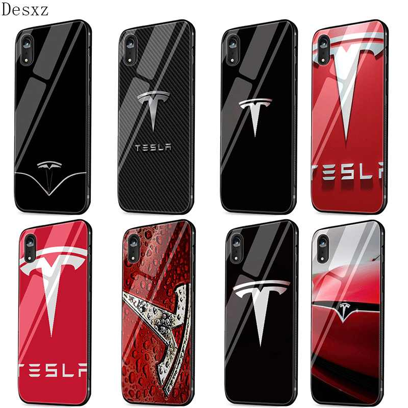 Mobiele Telefoon Case Glas voor iPhone 11 Pro X XS XR Max iPhone 6 6s 7 8 Plus 5 5s Cover Super Elektrische Auto Tesla Logo Leuke
