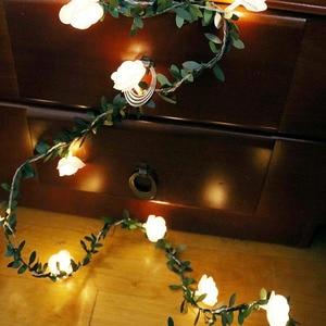 10/20/40/50 светодиодов, светодиодные гирлянды с розовым цветком, батарея/USB/на солнечных батареях, свадебные вечерние гирлянды на День святого В...